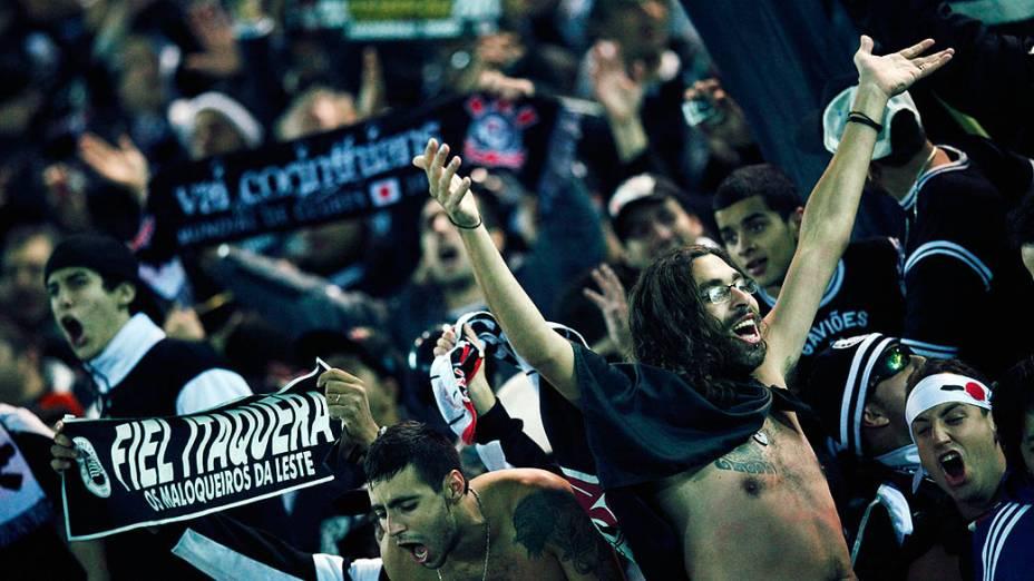 Torcida do Corinthians durante partida contra o Chelsea, em Yokohama