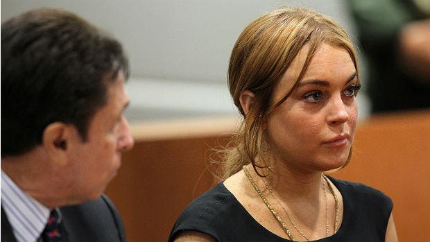 A atriz Lindsay Lohan durante julgamento em janeiro de 2013