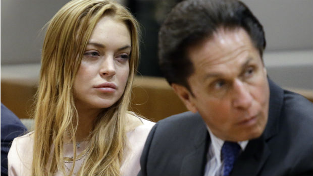 Lindsay Lohan durante julgamento que aconteceu em Los Angeles em 18 de março