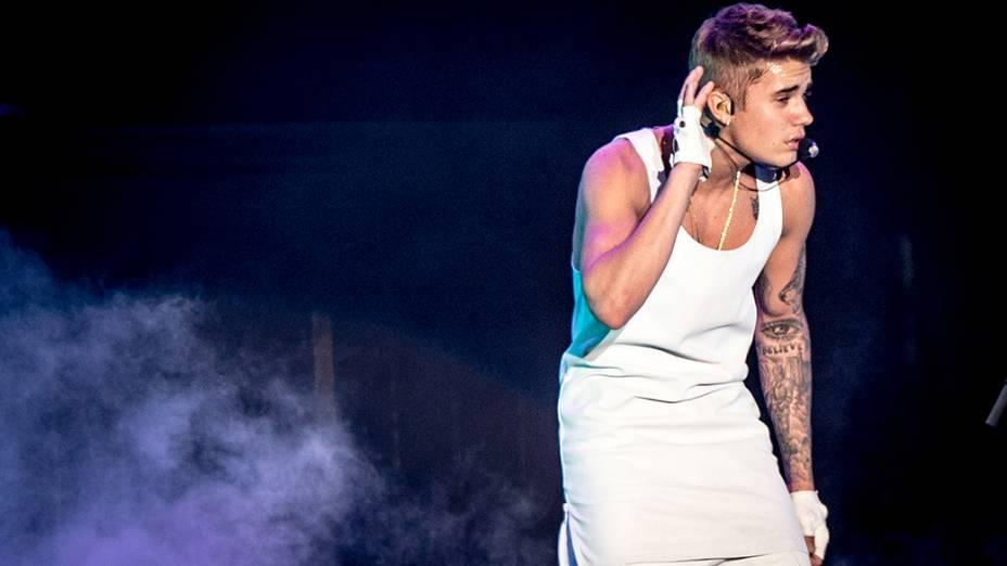 <p>Justin Bieber durante apresentação em São Paulo, na Arena Anhembi</p>