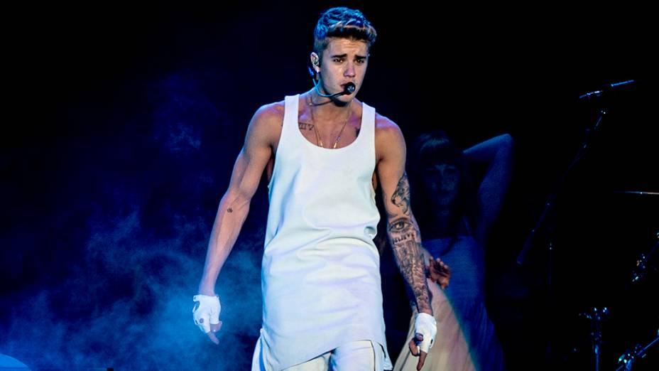 Justin Bieber durante apresentação em São Paulo, na Arena Anhembi