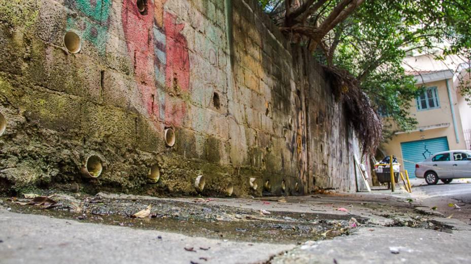 <p>Uma das nascentes do Rio Saracura, no fim da Rua Dr. Seng, próximo ao Hotel Maksoud Plaza</p>