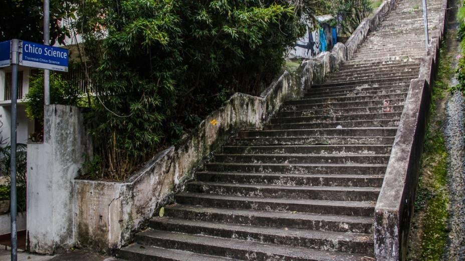 <p>Ao lado da escadaria que liga a Rua Werner Sack à Rua Orós, no Alto de Pinheiros, está uma das nascentes do Rio das Corujas</p>