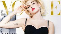 Detalhe da capa da Vogue alemã com Miley Cyrus