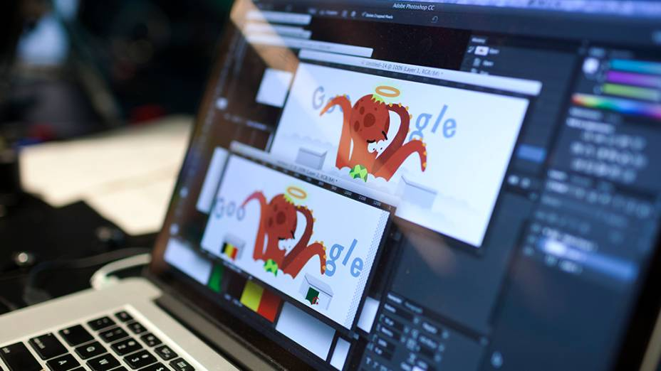 Processo de produção de um doodler no Google, em São Paulo