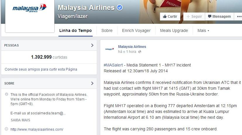 Malaysia Airlines confirma perda de contato com voo da companhia sobre a Ucrânia
