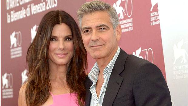 Os atores George Clooney e Sandra Bullock durante a abertura do Festival de Veneza
