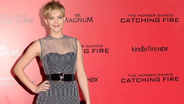 A atriz Jennifer Lawrence na estreia de Jogos Vorazes: Em Chamas, em Los Angeles