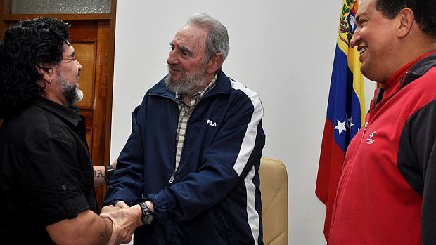 Maradona com Fidel Castro e Hugo Chávez