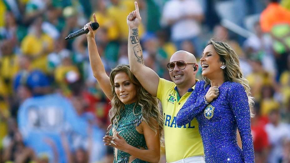 Jennifer Lopez, Pitbull e Claudia Leitte na abertura da Copa do Mundo no Itaquerão, em São Paulo