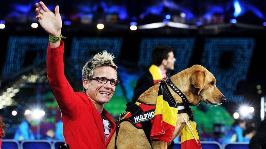 Atleta da Bélgica durante cerimônia de abertura das Paralimpíadas em Londres, em 29/08/2012
