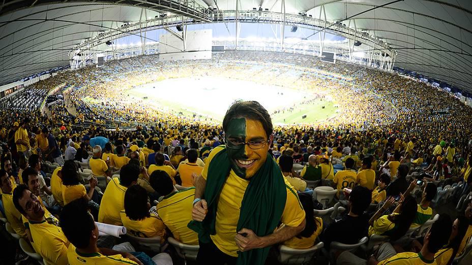 Cerimônia de encerramento antes da final da Copa das Confederações da partida de futebol entre Brasil e Espanha, no Estádio do Maracanã, no Rio de Janeiro