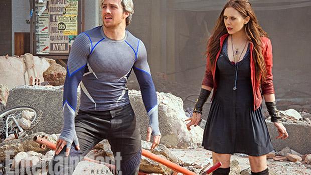 Os atores Aaron Taylor-Johnson e Elizabeth Olsen em cena do filme Vingadores 2 - A Era de Ultron