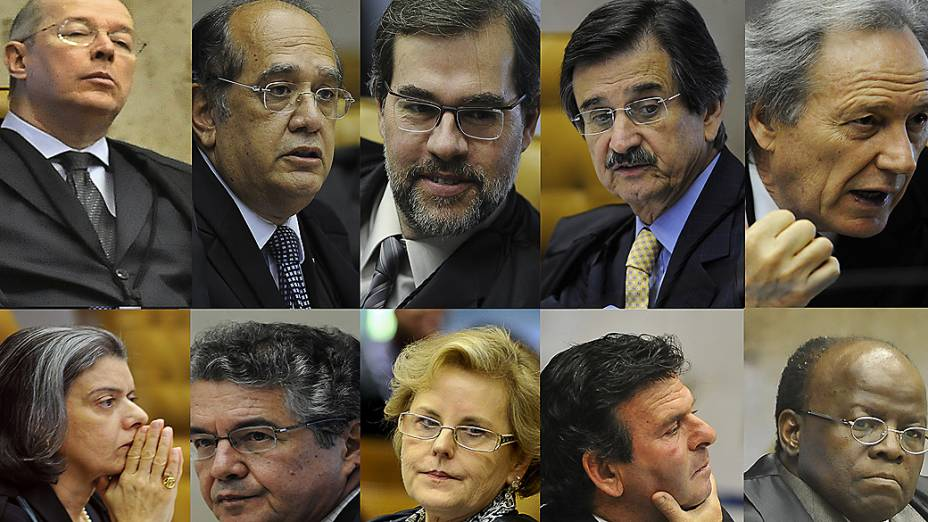 Ministros do Supremo Tribunal Federal (STF) durante sessão do julgamento do mensalão