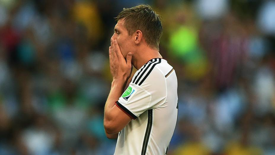 O alemão Toni Kroos durante o jogo contra a Argentina na final da Copa no Maracanã, no Rio