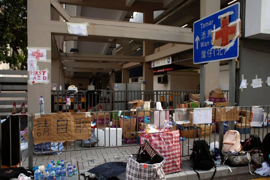 Estação de primeiros-socorros no distrito financeiro de Hong Kong