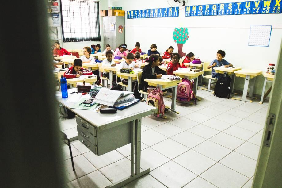 Sala de aula na escola municipal Abel Maria Torres, na zona rural de Vinhedo (SP)