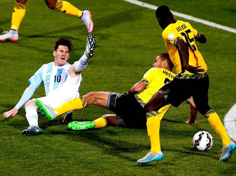 Lionel Messi da Argentina durante partida entre Argentina e Jamaica, válida pela terceira rodada da primeira fase do grupo B da Copa América 2015, realizada no Estádio Sausalito