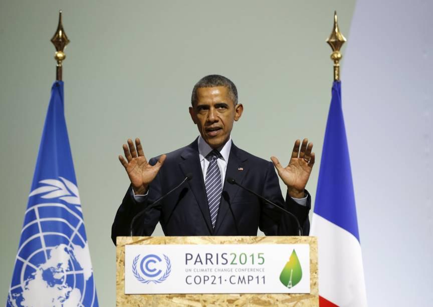 <p>O presidente americano, Barack Obama, na abertura da conferência sobre o clima, em Paris</p>