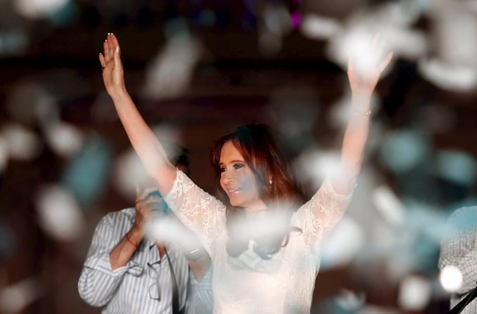 Cristina Kirchner em despedida da Presidência na Casa Rosada, em frente à Praça de maio