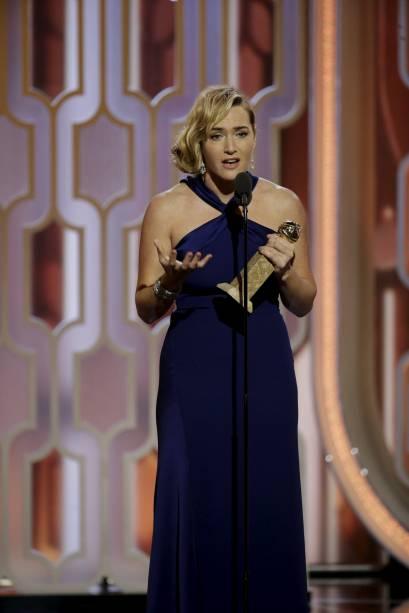 Kate Winslet ao vencer o Globo de Ouro 2016