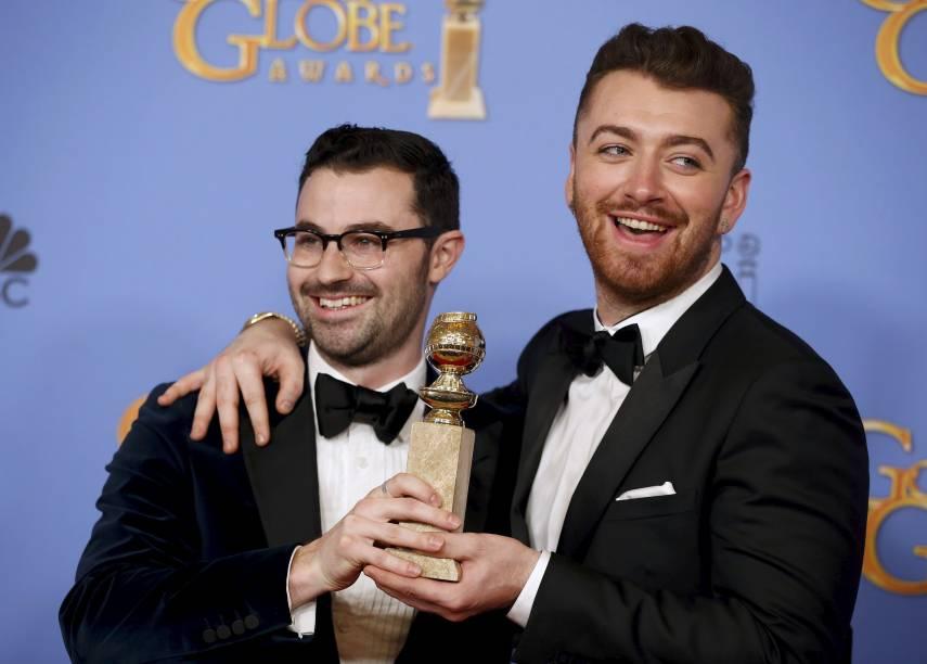 Sam Smith e Jimmy Napes recebem o Globo de Ouro de melhor canção por Writings on the Wall, do filme 007 contra Spectre