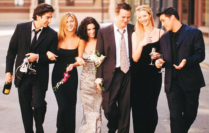 Elenco principal da série Friends: Ross (David Schwimmer), Rachel (Jennifer Aniston), Monica (Courteney Cox), Chandler (Matthew Perry), Phoebe (Lisa Kudrow) e Joey (Matt LeBlanc)