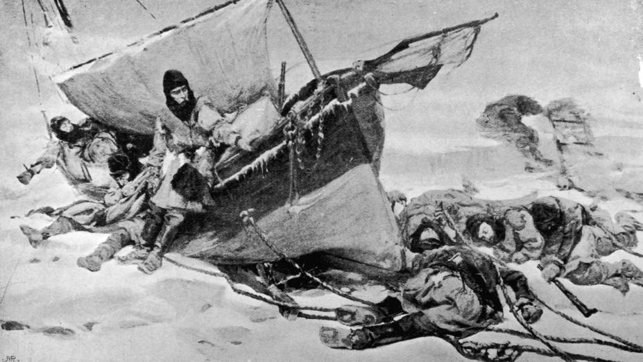Gravura datada de 1847 retrata os tripulantes da expedição de Sir John Franklin no Ártico