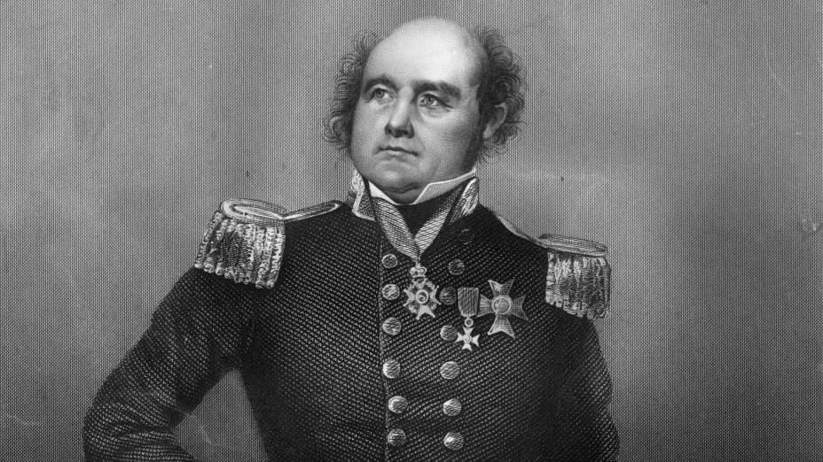 O explorador britânico Sir John Franklin é retratado em uma gravura de 1810