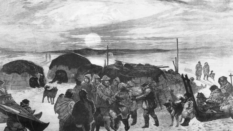 Exploradores que buscavam os barcos da expedição de Sir John Franklin são retratados em gravura de 1879