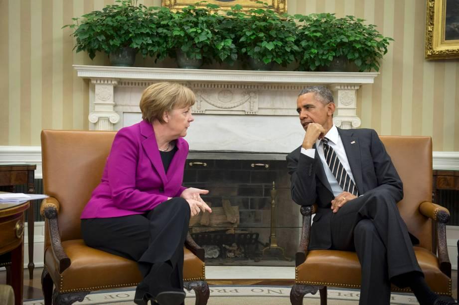 Presidente Barack Obama em encontro com a chanceler alemã Angela Merkel para discutir a crise na Ucrânia