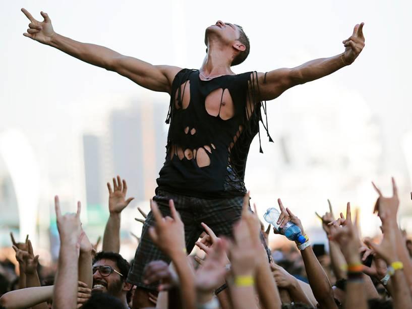 Público durante a apresentação da banda Halestorm no quarto dia do Rock in Rio 2015