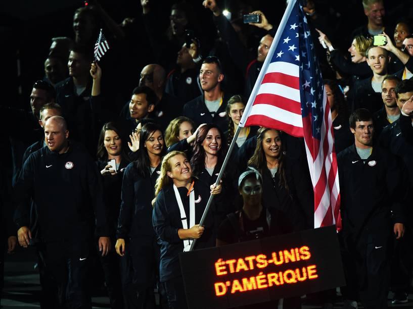 Delegação dos Estados Unidos durante a cerimônia de abertura dos Jogos Pan-Americanos de Toronto