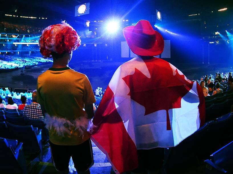 Movimentação do público antes da cerimônia de abertura dos Jogos Pan-Americanos em Toronto, no Canadá