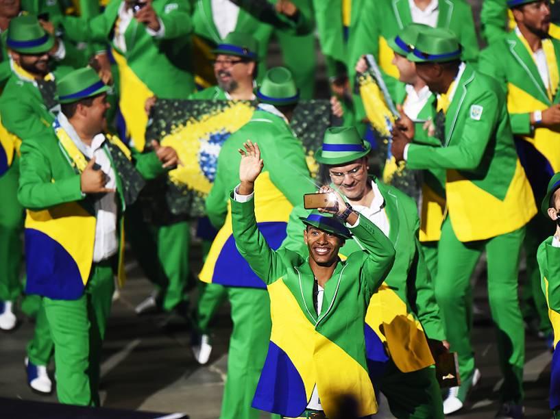 Delegação brasileira é recebida no Rogers Centre em Toronto, no Canadá, durante a cerimônia de abertura dos Jogos Pan-Americanos