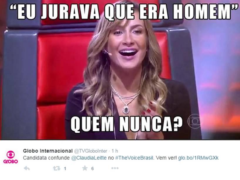 Até o perfil da Globo Internacional no Twitter brincou com a fala de Claudia Leitte sobre Adna Souza, candidata do The Voice Brasil