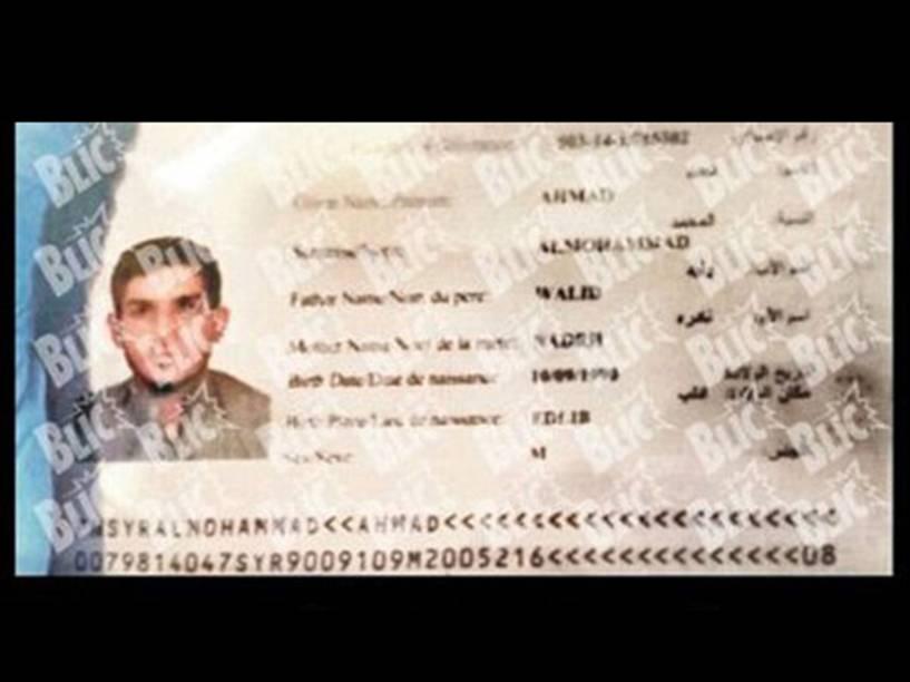 Imagem do passaporte de Ahmed Almuhamed, o segundo terrorista identificado durante os ataques na França