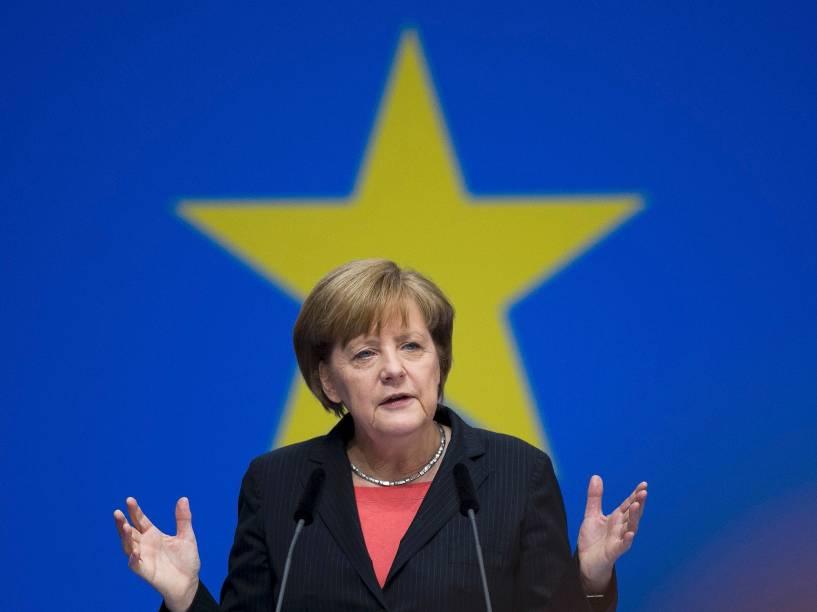 A chanceler Angela Merkel durante coletiva em Berlim