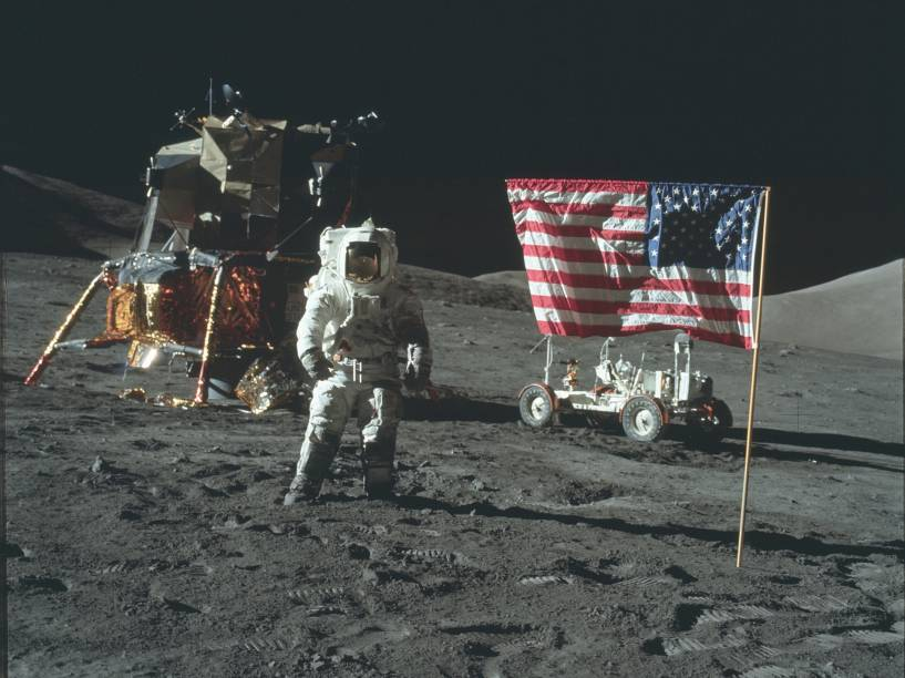 <p>Astronauta da Apollo 17, durante o pouso na Lua, em 11 de dezembro de 1972.</p>