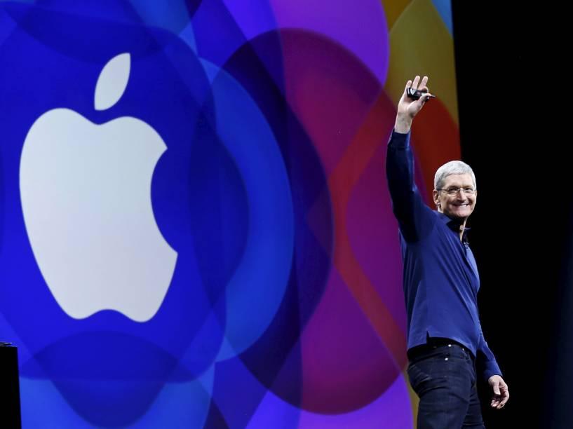 O CEO Tim Cook durante a conferência da Apple em São Francisco