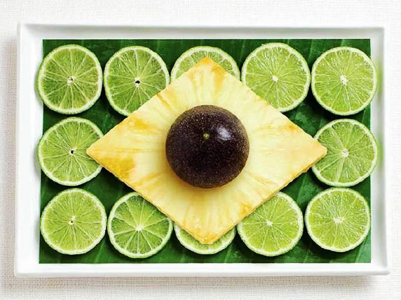 Bandeira do Brasil: Folha de banana, limões, abacaxi e abacate