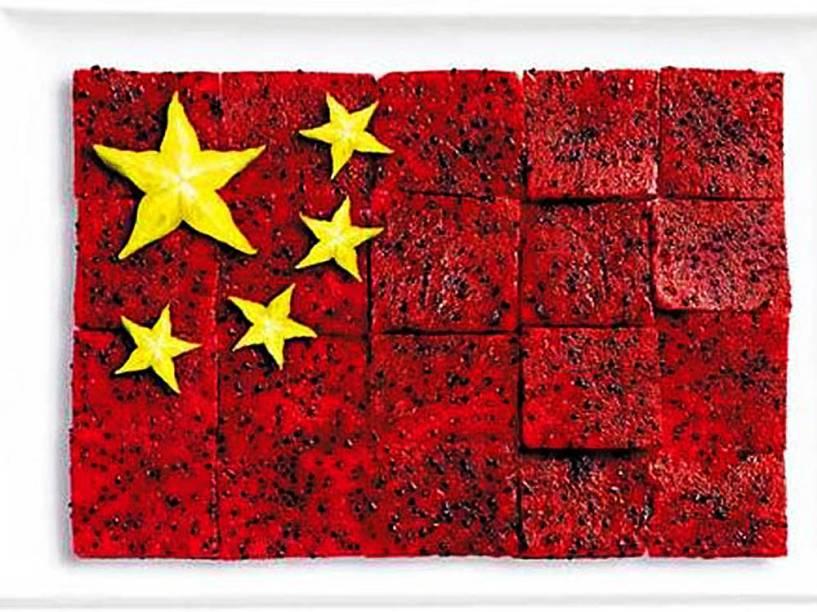 Bandeira da China: Fruta-do-dragão e carambola
