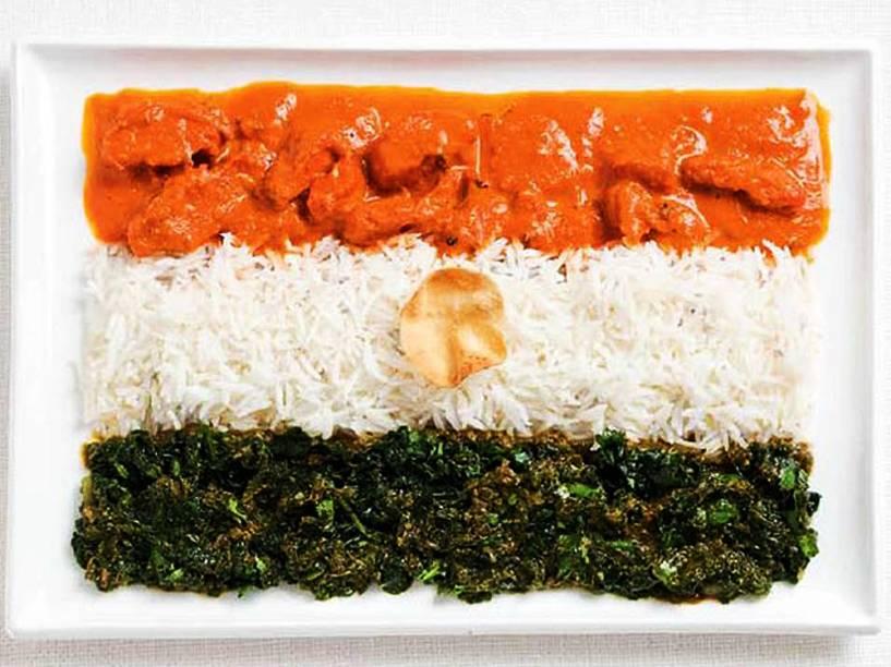 Bandeira da Índia: Caril de frango, arroz, cheera thoran e tortilha indiana