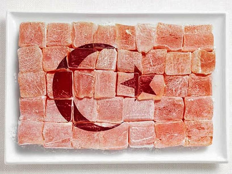 Bandeira da turquia: Majar turco ( sobremesa turca feita de maisena e açúcar, com sabor de água de rosas ou limão