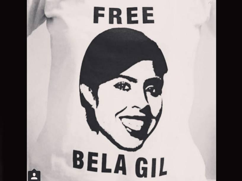 Detalhe da camiseta feita em apoio a Bela Gil -- e ao direito de ser chata