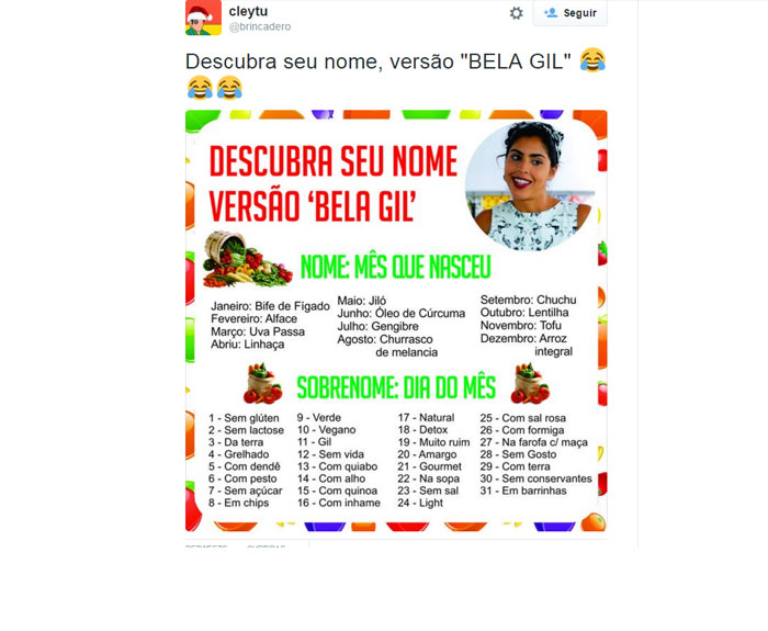 Possível batismo de filho de Bela Gil como Jiló faz a diversão das redes sociais