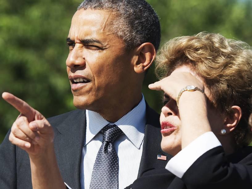 <p>Presidente Dilma Rousseff acompanhada do presidente dos Estados Unidos, Barack Obama, em visita ao memorial de Martin Luther King, em Washington DC - 29/06/2015</p>