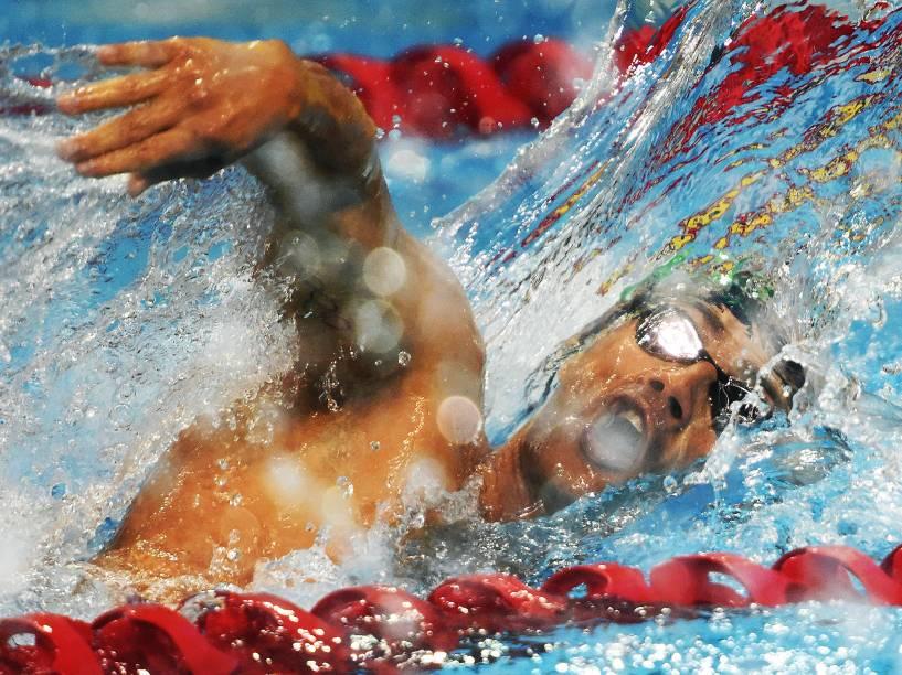 O nadador brasileiro Leonardo De Deus conquista a medalha de bronze na prova dos 400m livre, nos Jogos Pan-Americanos em Toronto, no Canadá - 17/07/2015