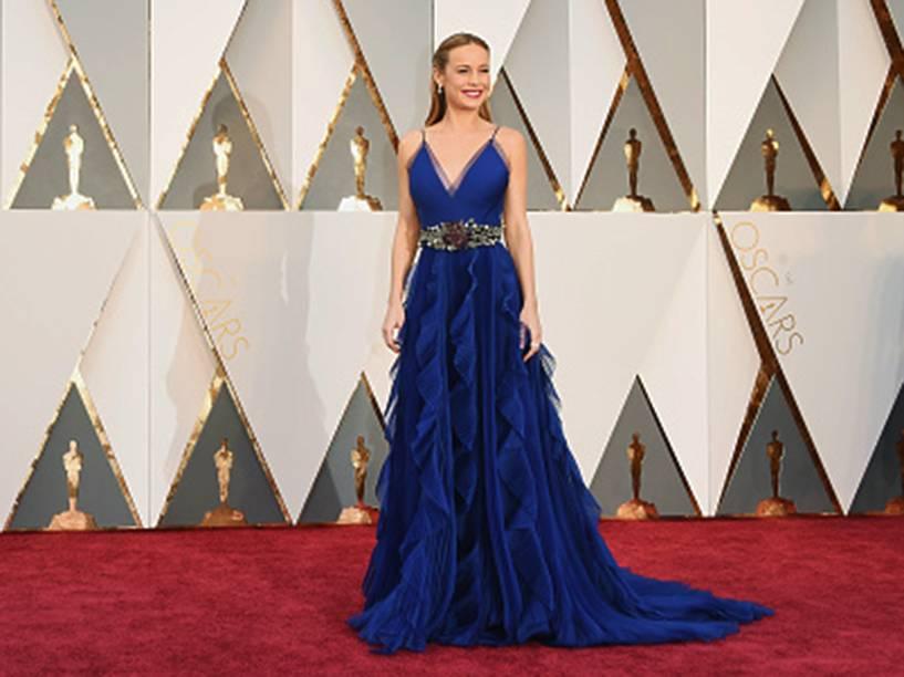 Vencedora do Oscar de melhor atriz, Brie Larson chegou no tapete vermelho com um vestido Gucci
