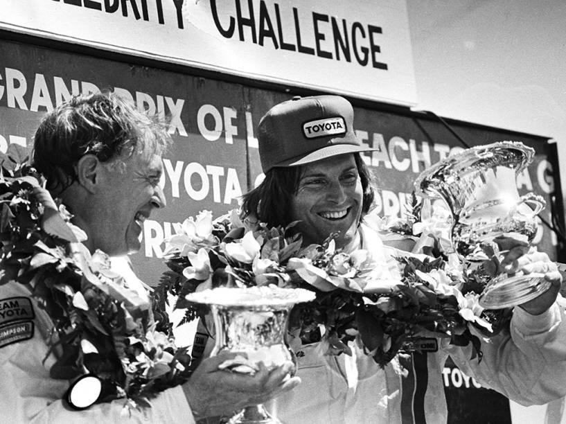 Bruce Jenner ao vencer corrida em 1982